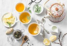 Πράσινο τσάι με το λεμόνι, πιπερόριζα, φασκομηλιά σε ένα ελαφρύ υπόβαθρο, τοπ άποψη Υγιές ποτό detox Στοκ Φωτογραφία