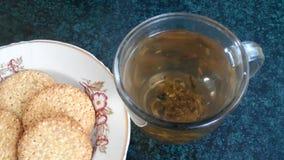 πράσινο τσάι μπισκότων απόθεμα βίντεο
