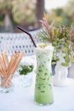 Πράσινο τσάι πάγου για το ποτό Στοκ φωτογραφία με δικαίωμα ελεύθερης χρήσης