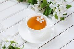 Πράσινο τσάι στο άσπρο φλυτζάνι Στοκ φωτογραφία με δικαίωμα ελεύθερης χρήσης