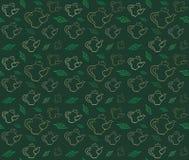 πράσινο τσάι teapot τσαγιού φύλλων πρότυπο άνευ ραφής διάνυσμα Στοκ Φωτογραφίες