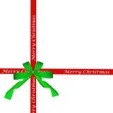 Πράσινο τόξο και κόκκινη κορδέλλα Χριστουγέννων Στοκ Εικόνα