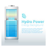 Πράσινο υπόβαθρο ενεργειακής έννοιας με την υδρο μπαταρία ενεργειακής φόρτισης διανυσματική απεικόνιση