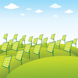 Πράσινο υπόβαθρο ηλιακών πλαισίων πηγής ενέργειας Στοκ Εικόνες