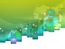 Πράσινο υπόβαθρο με τα διαγράμματα διανυσματική απεικόνιση