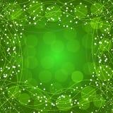 Πράσινο υπόβαθρο με τα σύνορα, τις γραμμές και τα αστέρια απεικόνιση Στοκ Εικόνα