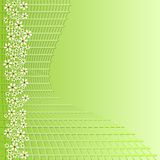 Πράσινο υπόβαθρο με το πλέγμα και μικρά άσπρα λουλούδια για το σχέδιο διαφήμισης άνοιξη Στοκ Εικόνες
