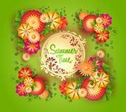 πράσινο υπόβαθρο με το floral πλαίσιο και διάστημα για το κείμενο Στοκ εικόνα με δικαίωμα ελεύθερης χρήσης