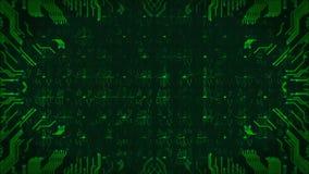 Πράσινο υπόβαθρο πινάκων κυκλωμάτων υψηλής τεχνολογίας Ο υπολογιστής παρήγαγε την άνευ ραφής αφηρημένη ζωτικότητα βρόχων διανυσματική απεικόνιση