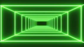 Πράσινο υπόβαθρο σηράγγων νέου βρόχων απεικόνιση αποθεμάτων