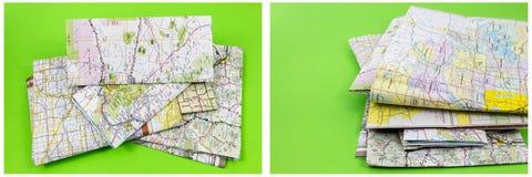 Πράσινο υπόβαθρο σωρών προορισμού χαρτών Στοκ Φωτογραφία
