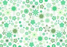 Πράσινο φοβιτσιάρες αναδρομικό πρότυπο λουλουδιών και φύλλων Στοκ Φωτογραφία