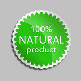 Πράσινο φυσικό προϊόν αυτοκόλλητων ετικεττών Στοκ εικόνες με δικαίωμα ελεύθερης χρήσης