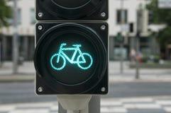 Πράσινο φως για το ποδήλατο Στοκ φωτογραφία με δικαίωμα ελεύθερης χρήσης