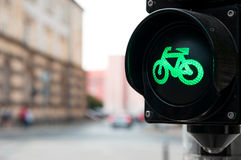 Πράσινο φως για το ποδήλατο Στοκ φωτογραφίες με δικαίωμα ελεύθερης χρήσης