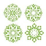 Πράσινο φύλλο που διακοσμεί με το υγιές σύμβολο swash Στοκ Εικόνες