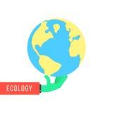 Πράσινο χέρι με τη γη όπως την προστασία του περιβάλλοντος απεικόνιση αποθεμάτων