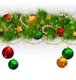 Πράσινο χριστουγεννιάτικο δέντρο με τα στολισμούς στο grayscale απεικόνιση αποθεμάτων