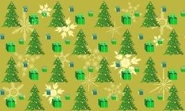 Πράσινο χριστουγεννιάτικο δέντρο σχεδίων με το δώρο και Στοκ Εικόνες