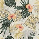 Πράσινο χρυσό hibiscus εγκαταστάσεων άνευ ραφής μπεζ υπόβαθρο ελεύθερη απεικόνιση δικαιώματος