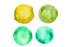 Πράσινο χρώμα watercolor στη μορφή των κύκλων Στοκ φωτογραφία με δικαίωμα ελεύθερης χρήσης