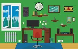 Πράσινο δωμάτιο εγχώριας εργασίας Στοκ εικόνες με δικαίωμα ελεύθερης χρήσης