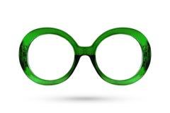 Πράσινο ύφος γυαλιών μόδας πλαστικός-που πλαισιώνεται που απομονώνεται στη λευκιά ΤΣΕ Στοκ Φωτογραφία