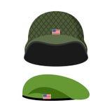 Πράσινο Beret Κράνος στρατού Στρατιωτικό σύνολο καλύμματος Διανυσματικό illus Στοκ φωτογραφία με δικαίωμα ελεύθερης χρήσης