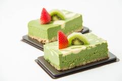 Πράσινο cheesecake τσαγιού Matcha Στοκ Φωτογραφία