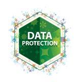 Πράσινο hexagon κουμπί σχεδίων εγκαταστάσεων προστασίας δεδομένων floral διανυσματική απεικόνιση