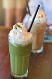 Πράσινο matcha τσαγιού latte frappe Στοκ Φωτογραφίες