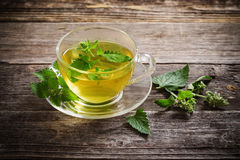 Πράσινο melissa βοτανικό τσάι στο φλυτζάνι γυαλιού στοκ εικόνες