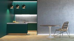 Πράσινο minimalistic εσωτερικό κουζινών τρισδιάστατος δώστε τη χλεύη απεικόνισης επάνω Στοκ Εικόνες