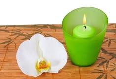 πράσινο orchid κεριών wellness Στοκ φωτογραφία με δικαίωμα ελεύθερης χρήσης