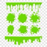 Πράσινο slime διάνυσμα που τίθεται στο ελεγμένο διαφανές υπόβαθρο διανυσματική απεικόνιση