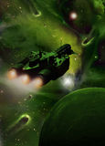 πράσινο spaceship νεφελώματος Στοκ Φωτογραφίες