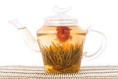 πράσινο teapot τσαγιού χαλιών Στοκ Φωτογραφίες