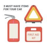 Πρέπει να είστε στο αυτοκίνητο Εξάρτηση πρώτων βοηθειών, πυροσβεστήρας, προειδοποιώντας τρίγωνο ελεύθερη απεικόνιση δικαιώματος