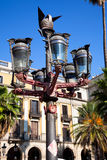 πραγματική οδός plaza της Βαρκελώνης ελαφριά Στοκ Φωτογραφίες