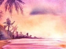 Πραγματική περιγραμματική ακτή watercolor με τους φοίνικες κατά τη διάρκεια του ηλιοβασιλέματος ελεύθερη απεικόνιση δικαιώματος