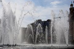 Πραγματική πηγή Plaza, Βαρκελώνη, Ισπανία Στοκ φωτογραφίες με δικαίωμα ελεύθερης χρήσης