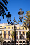 Πραγματική Placa Reial πλατεία της Βαρκελώνης Plaza Στοκ Εικόνες