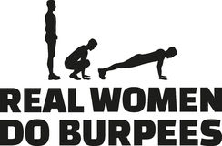 Πραγματική women do burpees Στοκ Εικόνα