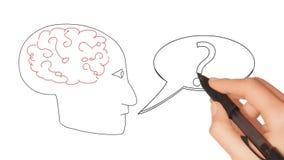 Πραγματικός - η χρονική ζωτικότητα συρμένου του χέρι εγκεφάλου με τις ερωτήσεις και η ομιλία βράζουν απόθεμα βίντεο