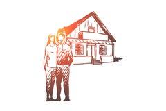 Πραγματικός, κτήμα, ζεύγος, σπίτι, έννοια αγοράς Συρμένο χέρι απομονωμένο διάνυσμα διανυσματική απεικόνιση