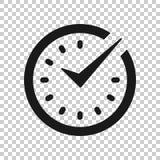 Πραγματικός - χρονικό εικονίδιο στο διαφανές ύφος Διανυσματική απεικόνιση ρολογιών στο απομονωμένο υπόβαθρο Επιχειρησιακή έννοια  ελεύθερη απεικόνιση δικαιώματος