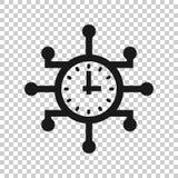 Πραγματικός - χρονικό εικονίδιο στο διαφανές ύφος Διανυσματική απεικόνιση ρολογιών στο απομονωμένο υπόβαθρο Επιχειρησιακή έννοια  απεικόνιση αποθεμάτων