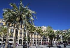 Πραγματικό τετράγωνο plaza ορόσημων στην κεντρική πόλη Ισπανία της Βαρκελώνης Στοκ Εικόνες