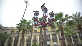 Πραγματικό φανάρι Plaza που σχεδιάζεται από τον ισπανικό αρχιτέκτονα Gaudi, ταξίδι στη Βαρκελώνη, Ισπανία φιλμ μικρού μήκους