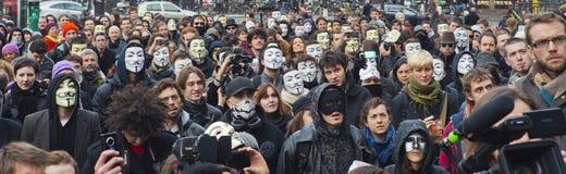 πρακτικά ενάντια στην ανώνυμη επίδειξη Διαδίκτυο Στοκ Φωτογραφίες